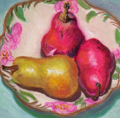 Pyrus Communis Painting - Three Pears In Rose Bowl by Emily Freiman