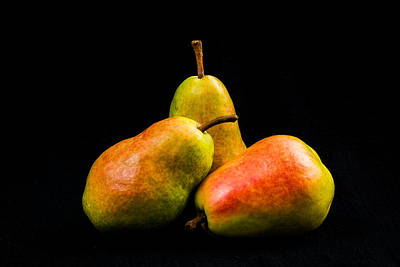 Fruit Arrangement Photograph - Three Pears by Jon Woodhams