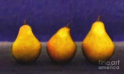 Pear Digital Art - Three Pears by Jutta Maria Pusl