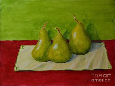 Art Print featuring the painting Three Pears by Melvin Turner