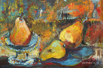 Painting - Three Pears Oil Painting by Ginette Callaway