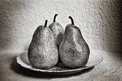 Three Pears On A Plate Art Print
