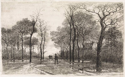 Stark Drawing - Three People On A Road Lined With Trees, Elias Stark by Elias Stark