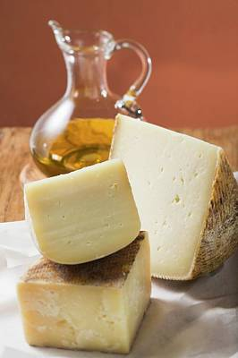 Three Pieces Of Cheese And Olive Oil Art Print