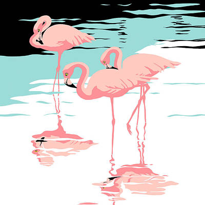 Peaceful Scene Painting - Three Pink Flamingos Tropical Landscape Abstract - Square Format by Walt Curlee