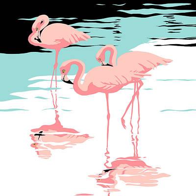 Three Pink Flamingos Tropical Landscape Abstract - Square Format Original