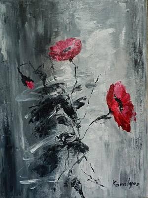 Three Poppies Art Print by Maria Karalyos