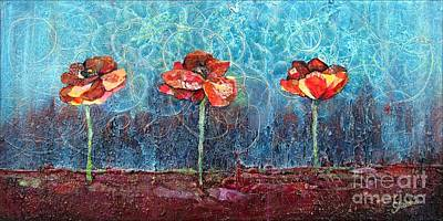 Burgundy Painting - Three Poppies by Shadia Derbyshire