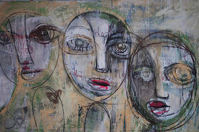 Painting - Three Portraits On Paper by Laurie Maves ART
