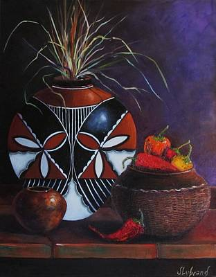 Pepper Painting - Three Pots And Chiles by Judy Lybrand