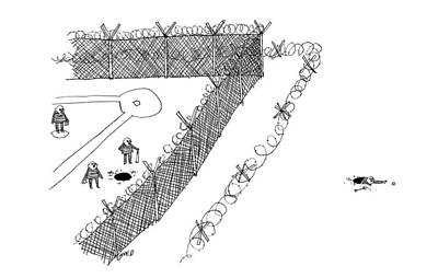 Drawing - Three Prisoners Playing Baseball In The Jail Yard by Edward Steed
