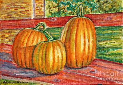 Garden Painting - Three Pumpkins On Deck by Kathryn Duncan