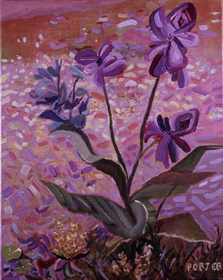 Painting - Three Purple Flowers by Sally Porter