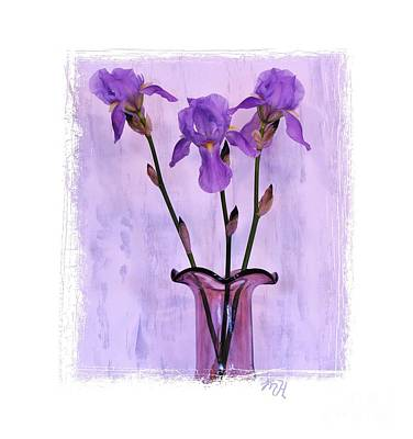 Wrap Digital Art - Three Purple Irises by Marsha Heiken