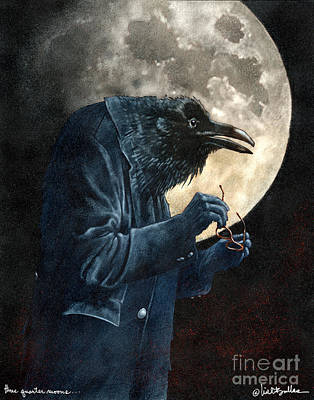Full Moon Painting - Three Quarter Moons And Near Sighted Ravens by Will Bullas