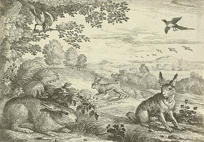Three Rabbits In A Landscape, Jan Griffier Art Print