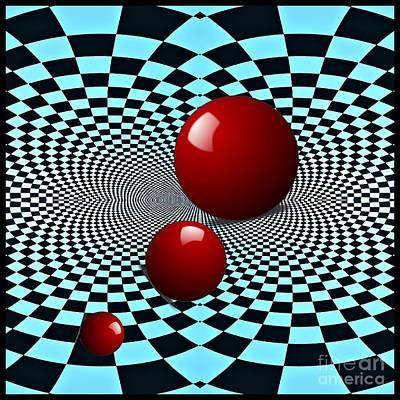 Digital Art - Three Red Balls by Sarah Loft