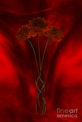 Digital Art - Three Red Roses In The Red Room by Johnny Hildingsson