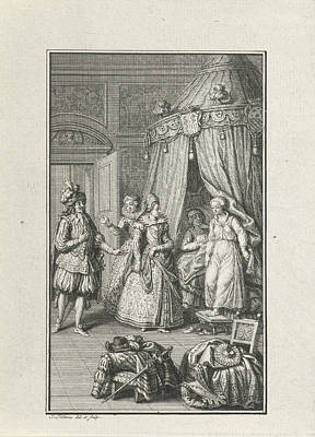 Step Stool Drawing - Three Richly Dressed Figures Enter A Room by Litz Collection
