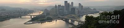 Pittsburgh Pa Photograph - Three Rivers Sunrise Panorama by Adam Jewell