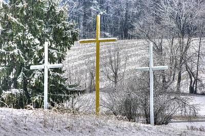 Three Roadside Crosses - Mount Airy Md Winter Print by Michael Mazaika