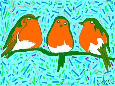 Life Study . Ganesha Digital Art - Three Robins by Anand Swaroop Manchiraju