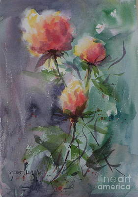 Painting - Three Rosebuds by Christy Lemp