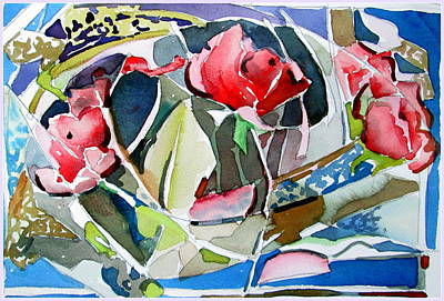 Abstract Flowers Drawings - Three Roses Abstract by Mindy Newman