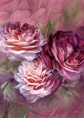 Mixed Media - Three Roses Burgundy Greeting Card by Carol Cavalaris