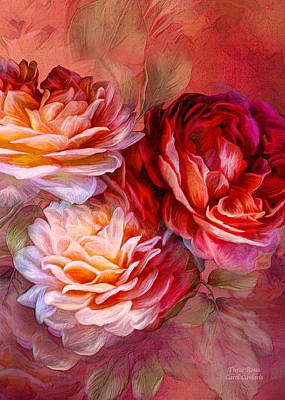 Mixed Media - Three Roses Red Greeting Card by Carol Cavalaris