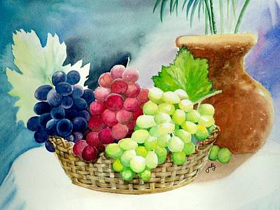 Concord Grapes Painting - Three Rounds by Jelly Starnes