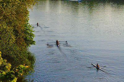 Three Rowers Along The Schuylkill Art Print by Bill Cannon