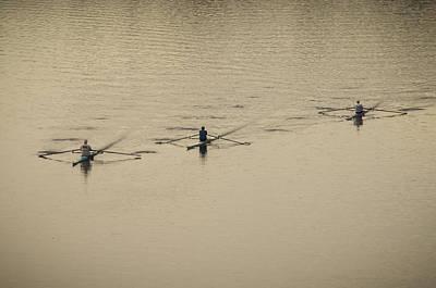 Rower Digital Art - Three Rowers by Bill Cannon