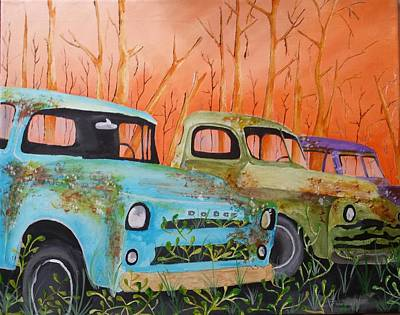 Painting - Three Rusty Trucks by Isaac Alcantar