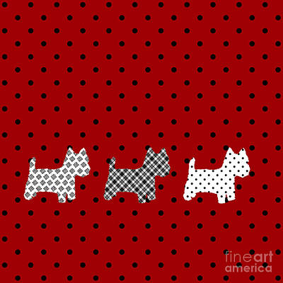 Westie Digital Art - Three S Red And Black Polka Dots Throw Pillow by Natalie Kinnear