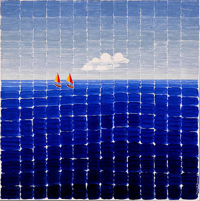 Painting - Three Sail Boats #2 by Jesse Jackson Brown