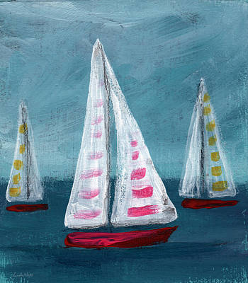Impressionism Mixed Media - Three Sailboats by Linda Woods