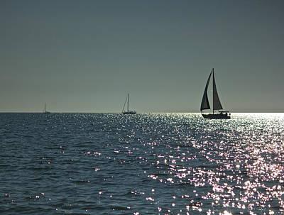 Photograph - Three Sailboats by Amazing Jules