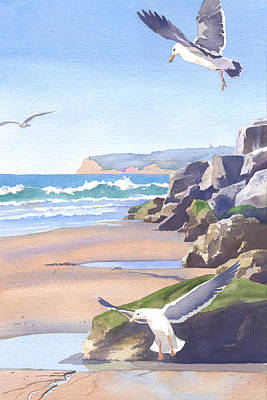 Seagulls Painting - Three Seagulls At Coronado Beach by Mary Helmreich