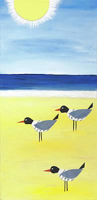 Three Seagulls On The Beach Art Print by Jennifer Peck