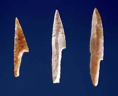 Three Serrated Points, From Volgu, Solutrean Period, 20000-15000 Bc Flint Art Print by Prehistoric