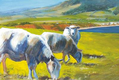 Painting - Three Sheep On A Devon Cliff Top by Mike Jory