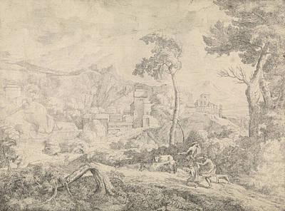 Cattle Drive Drawing - Three Shepherds In A Storm, Johannes Gottlieb Glauber by Johannes Gottlieb Glauber