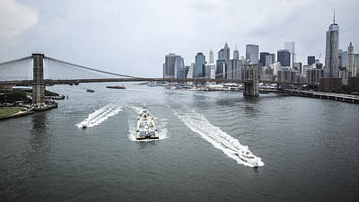 Photograph - Three Ships At East River by Alex Potemkin