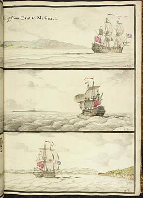 Three Ships Under Full Sail Art Print