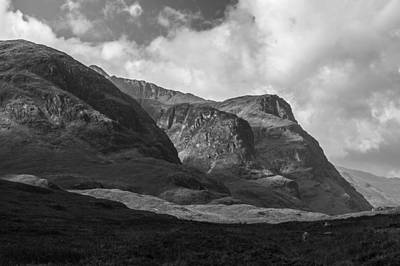 Photograph - Three Sisters Glencoe Black And White Version by Gary Eason