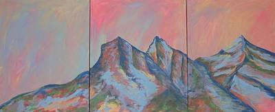 Painting - Three Sisters Mountians Alberta by Cherie Sexsmith