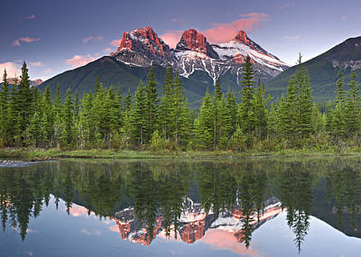 Photograph - Three Sisters Reflection by Richard Berry