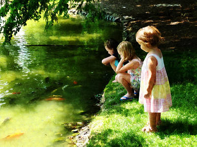 Photograph - Three Sisters Watching Koi by Susan Savad