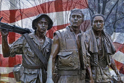 Photograph - Three Soldiers Vietnam Veterans Memorial Washington Dc by David Zanzinger